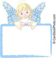 lindo, invitar, ángel, y, tarjeta de lugar