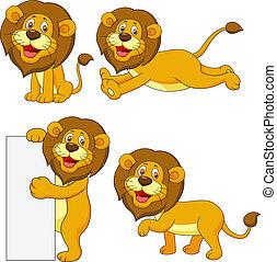 Lindo juego de caricaturas de león