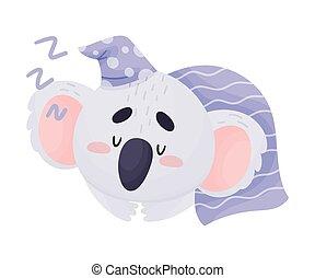 lindo, koala, vector, caricatura, cubierto, carácter, manta, sueño, ilustración