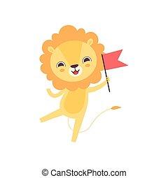 Lindo león con bandera roja, divertida ilustración de dibujos animados de animales africanos