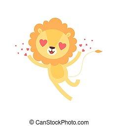 Lindo león con ojos con forma de corazón, divertido dibujo animado de animales africanos ilustración vectorial de caracter