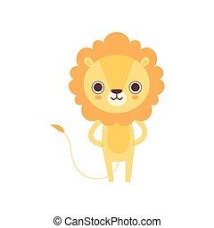 Lindo león, divertido dibujo animado de animales africanos ilustración vectorial de caracter