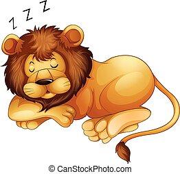 Lindo león durmiendo solo