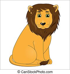 Lindo león macho de dibujos animados