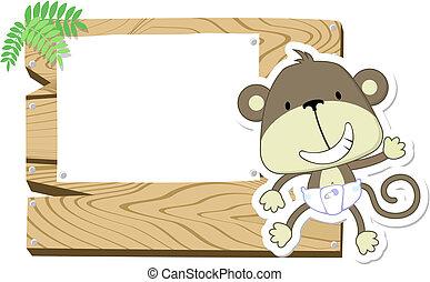 Lindo letrero de mono bebé