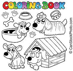 lindo, libro colorear, perros
