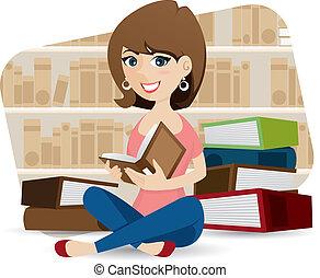 lindo, libro de la biblioteca, lectura de la muchacha, caricatura