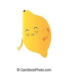 Lindo limón, gracioso personaje de dibujos animados de frutas con ilustración graciosa de vectores faciales