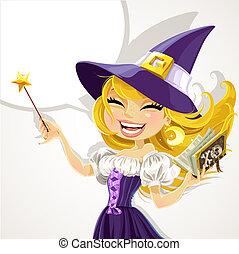 lindo, magick, bruja, joven, varita