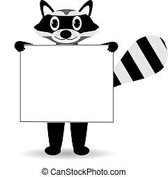 Lindo mapache de dibujos animados con señales en blanco.