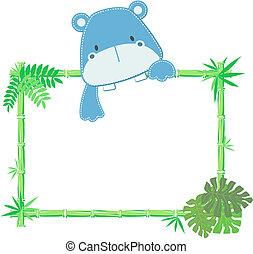 Lindo marco de hipopótamo bebé