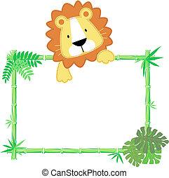 Lindo marco de león bebé