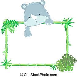 Lindo marco de rinoceronte bebé