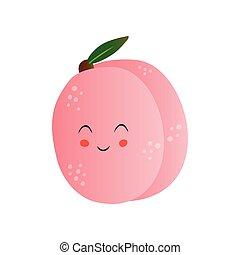 Lindo melocotón, gracioso personaje de dibujos animados de frutas con ilustración graciosa de vectores faciales