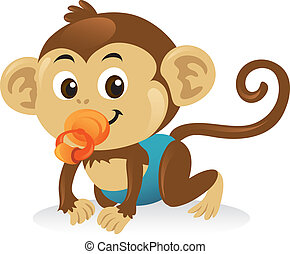 Lindo mono bebé con un chupete en una pose repleta.