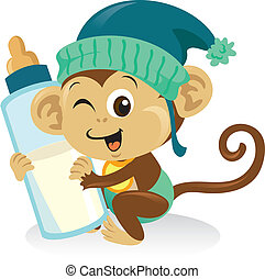 lindo, mono, grande, teniendo bebé, bottle., leche