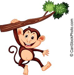 lindo, mono, rama, ahorcadura