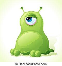 lindo, monstruo, aislado, fondo., vector, verde blanco