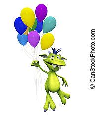 Lindo monstruo de caricatura sosteniendo globos.