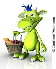 Lindo monstruo de caricatura sosteniendo una canasta de picnic.