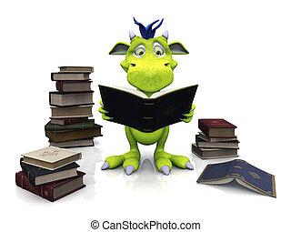 Lindo monstruo de caricaturas leyendo un libro.