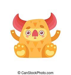 Lindo monstruo, divertido dibujo animado alienígena naranja ilustración vectorial de caracter