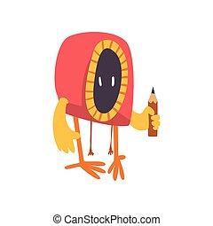 Lindo monstruo raro con lápiz, divertido dibujo animado de dibujos animados alienígenas colorido ilustración vectorial