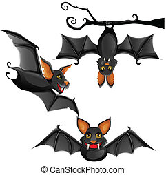 lindo, murciélago, vector