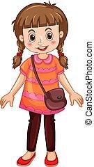 lindo, niña, caricatura, carácter