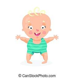 Lindo niño feliz de dibujos animados tratando de caminar, colorido vector de ilustración de caracteres