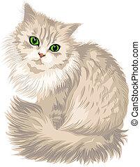lindo, ojos, lila, velloso, gato, vector, verde