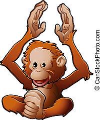 lindo, orangután, ilustración, vector