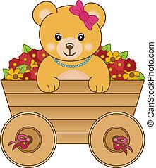 Lindo osito dentro del carrito flor