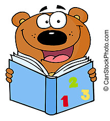 Lindo oso leyendo un libro