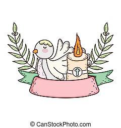 Lindo pájaro paloma con candelabro