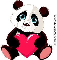Lindo panda con corazón