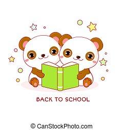 lindo, pandas, libro, dos, espalda, poco, school.