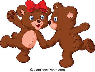 lindo, pareja, caricatura, oso, bailando