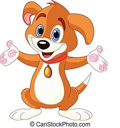 Lindo perrito levantando sus manos