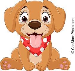lindo, perro, caricatura, cuidado de niños