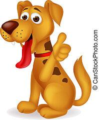 Lindo perro con pulgar hacia arriba