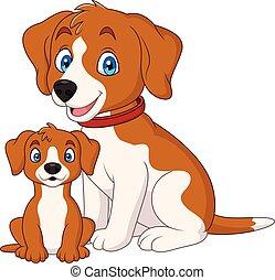 Lindo perro con su cachorro