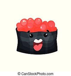 Lindo personaje con caviar, sushi Ikura Gunkan con divertida caricatura vector de ilustración