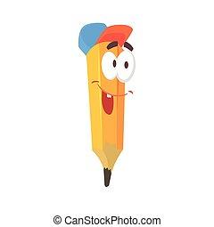 Lindo personaje de cómic amarillo de dibujos animados usando gorra azul, lápiz humanizado con vectores graciosos de ilustración