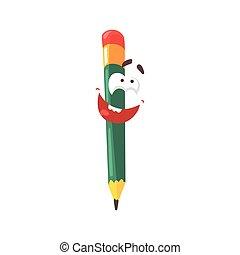 Lindo personaje de cómic verde lápiz de dibujos animados, lápiz humanizado con vectores graciosos de ilustración