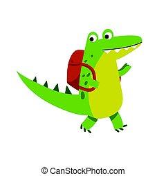Lindo personaje de cocodrilo de dibujos animados caminando con vector de Ilustración vector de mochila