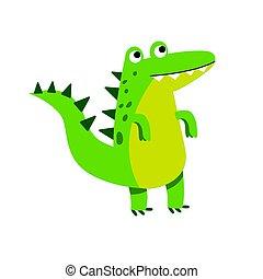 Lindo personaje de cocodrilo de dibujos animados, vector de ilustración