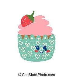 Lindo personaje de dibujos animados de cupcakes, adorable postre kawaii con ilustración vectorial de fresa