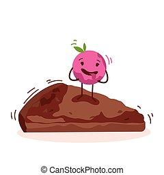 Lindo personaje de dibujos animados de pastel aislado en el logo de vector blanco de fondo
