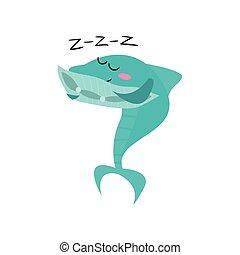 Lindo personaje de dibujos animados de tiburones durmiendo, divertido vector azul de ilustración de peces azules
